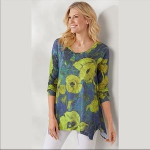 Soft Surroundings Lake District Chartreuse Floral Tunic Top Plus Size 3X